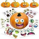 Halloween Pumpkin Decorating Stickers, 12 Large Sheets - Jack-o-Lantern Decoration Kit, 26 Total DIY Face Stickers, Cute Halloween Decor Idea, Treats, Gifts, and Crafts for Kids, 6' x 9'
