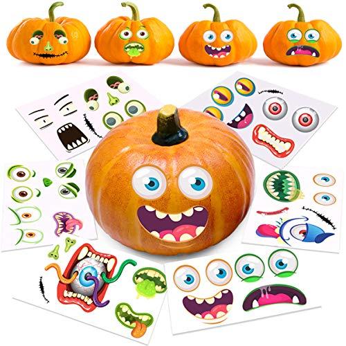 "Halloween Pumpkin Decorating Stickers, 12 Large Sheets - Jack-o-Lantern Decoration Kit, 26 Total DIY Face Stickers, Cute Halloween Decor Idea, Treats, Gifts, and Crafts for Kids, 6"" x 9"""