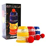 CUPS AND BALLS COLORED EDITION inklusive Bälle und deutscher Anleitung von Its Magic, Zauberkasten Becherspiel Alu für Close-Up und Street Magic,...
