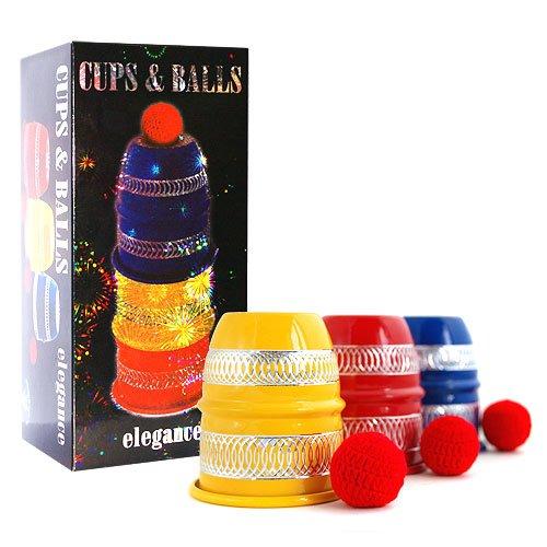 CUPS AND BALLS COLORED EDITION inklusive Bälle und deutscher Anleitung von Its Magic, Zauberkasten Becherspiel Alu für Close-Up und Street Magic, Hütchenspiel, Zaubertrick für Gaukler und Zauberer