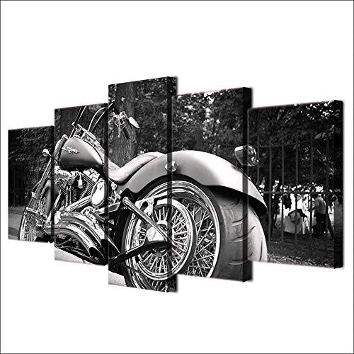 GSDFSD Cuadro En Lienzo Motorbike White Balck Painting 150X80Cm Impresión De 5 Piezas Material Tejido No Tejido Impresión Artística Imagen Gráfica Decoracion