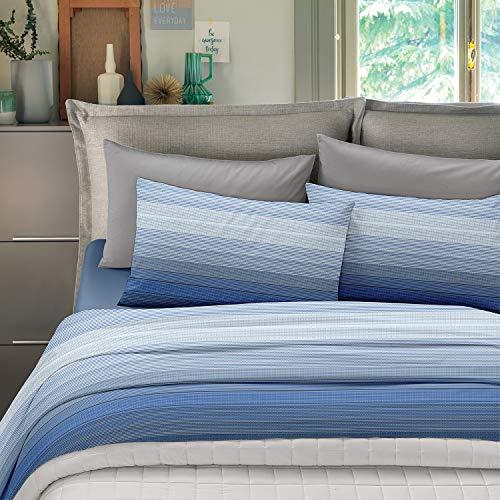 NuvolaNera Set completo lenzuola stampate in cotone 100% – per materassi fino a 25 cm. – 2 Piazze Matrimoniale - Stripe Blu