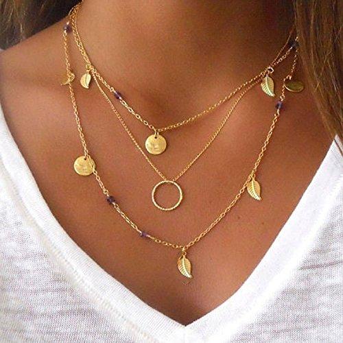 Elistelle MoonANKK0 Design Collar Pendant Choker Necklaces Mehrr Row Chain Necklaces for Women (O)