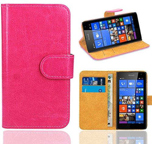 Microsoft Lumia 535 Handy Tasche, FoneExpert® Wallet Hülle Flip Cover Hüllen Etui Ledertasche Lederhülle Premium Schutzhülle für Microsoft Lumia 535 (Wallet Rosa)