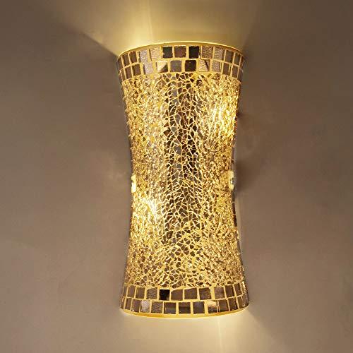 LLY Lámpara de pared de vidrio dorado artesanal vintage, iluminación de arriba hacia abajo, lámpara de pared interior de...