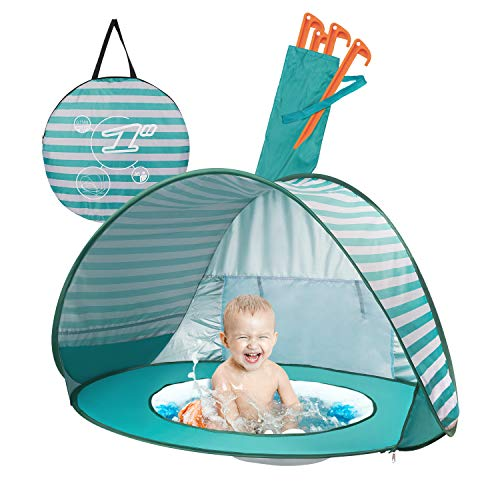 Yalojan Baby Beach Tent, Pop-up Baby Tent with Swimming Pool,Automatic Foldable Portable Tent with Sun Protection,Anti UV,UPF 50+,Very Suitable for Beach Holidays. (Turquoise)