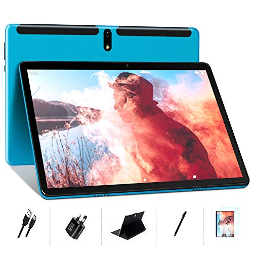 Tablet 10 Inch Android 10- MEBERRY Ultra Portable Octa-Core Processor 1.6 GHz Tablet PC 4GB RAM + 64GB ROM - Google GMS Certified| 8000mAh| WIFI| Double Camera| Bluetooth| GPS, Blue (WIFI Version)