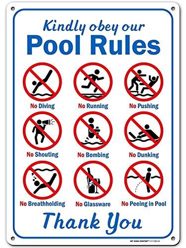"""No Brands Kindly Obey Sicherheitsschild für Schwimmbad, Aufschrift """"Swim at Your Own Risk"""", aus rostfreiem Aluminium, für Innen- und Außenbereich, UV-geschützt"""
