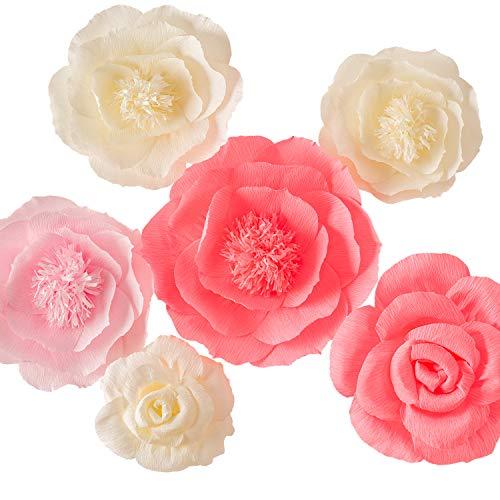 Groß, Rosa, elfenbeinfarben und Wassermelone rosa Krepppapier, Blumen (Set of 6), Hochzeit Decor, Party Dekorationen, Kinderzimmer Decor, Wall of Blumen , Floral Hintergrund , Papier handgefertigt