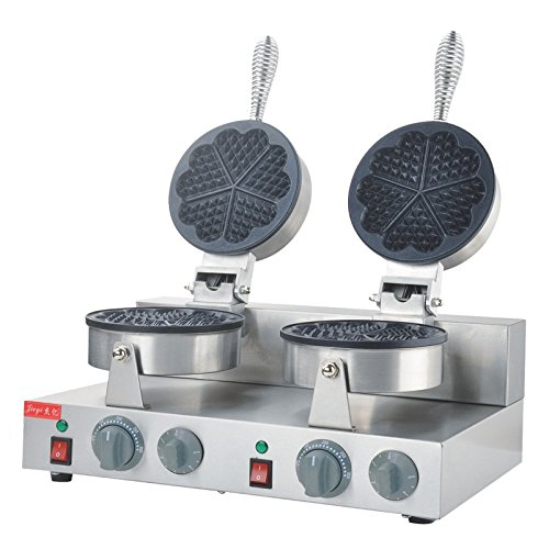 220v/110v Commercial electrical Double heart-shaped Waffle Baker industrial swift scones machine muffin machine Waffle maker (110v US Plus)