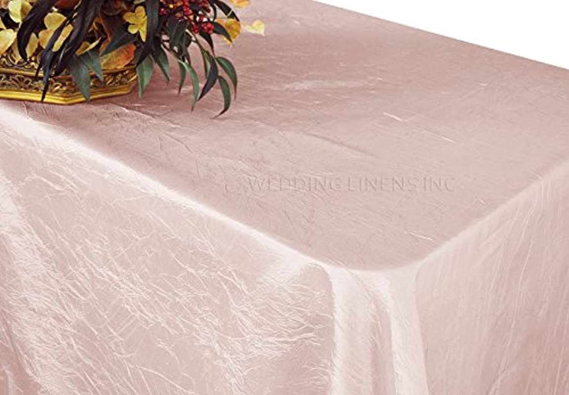 Wedding Linens Inc 90 X 132 Inch Rectangular Crinkle Crushed Taffeta Tablecloths Rectangle Table Cover Linens For 6 Ft Rectangle Banquet Tables Blush Pink