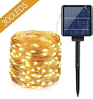 Solar String Lights, AUOPLUS 300 LED Solar Powered Fairy Light, 108 FT, 8 Modes Waterproof String Light, Decorative Hanging Lights for Bedroom Outdoor Indoor Garden Backyard Patio Home Christmas