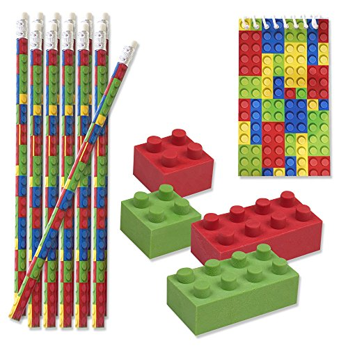 48 Bulk Pack Colorful Building Block Brick Party Favor Supplies Theme Decorations 12 Pencils 12 Mini Notepads 24 Erasers for Kids Girls Boys Teens Children Birthday Carnival Teacher Classroom Rewards