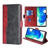 FiiMoo Handyhülle Kompatibel mit Xiaomi Poco F2 Pro, [Weicher TPU] [Kartenfach] [Magnetverschluss] [Aufstellfunktion] Leder Tasche Flip Wallet Hülle Schutzhülle Hülle für Xiaomi Poco F2 Pro 5G - Rot