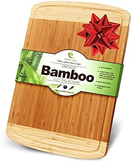 Midori Way Thick Bamboo Wood Cutting Board with Juice Grooves - Extra Large 18x12 inches