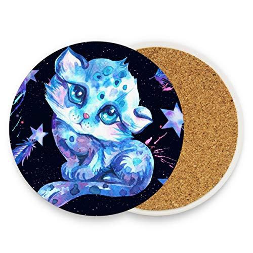 Posavasos de cerámica para bebidas absorbentes – gato azul cosmos acuarela Corcho posavasos regalos divertidos posavasos decoración de mesa hogar, cerámica, Patrón, 0.20x3.9inx2