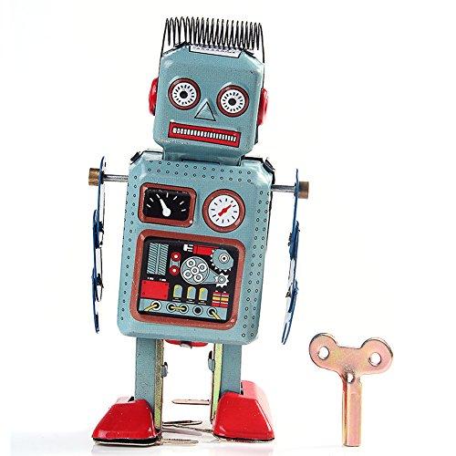 Bei wang Clockwork Wind Up Metal Walking Robot Tin Toy Retro Vintage Mechanical Kids Gift by Bei wang