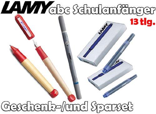 LAMY abc Schulanfänger Füllfederhalter ROT + Drehbleistift [Starter-/Geschenkset] inkl. 2 Päckchen Tintenpatronen = 10Stk. & Tintenkiller F