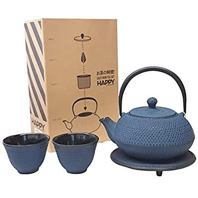 Happy Sales HSCT-ABL02, Happy Sales Cast Iron Tea Pot Tea Set Blue ARR