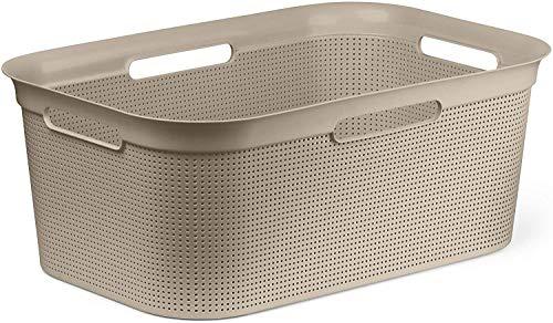 Rotho Brisen, Cesta de lavandería 40l con 4 asas, Plástico PP sin BPA, capuchino, 41l 59.6 x 39.6 x 23.2 cm