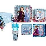 """【海外直送】 アナと雪の女王 紙皿8枚・紙コップ8個・ペーパーナプキン16枚 パーティーセット Disney's Frozen Party 9"""" Square Paper Plate 8ct, Paper Cup 8ct, Paper Napkin 16ct"""
