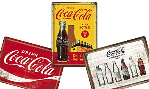 コカ・コーラ (B) Coca-Cola / ポストカード はがき (ブリキ製) 3枚 セット