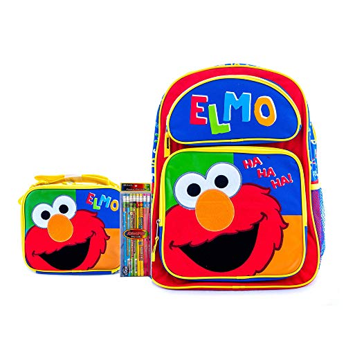 Kids School Large Backpacks and Lunchbox with Elmo and The Sesame Street with Pencils (16' Carry & Lunch Box)