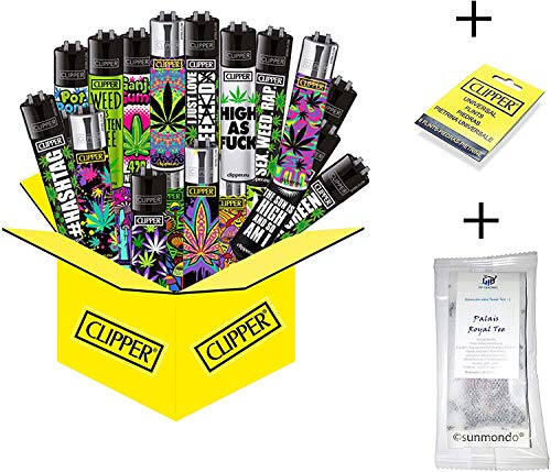 15 x Hanfmotive (Weed) Collector Mix Clipper (15 x Feuerzeug Plus 9 gratis Clipper Feuersteine)