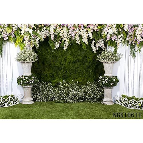Boda Cortina Blanca Flor Guirnalda Floral Pared Fiesta fotografía Fondos decoración telones de Fondo para Estudio fotográfico A31 10x10ft / 3x3m