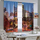 hengshu United States Room Decor Blackout Shades, Raleigh North Carolina USA Express Way Business District Building Skyscrapers, for School, Multicolor, W63 x L72 inch,
