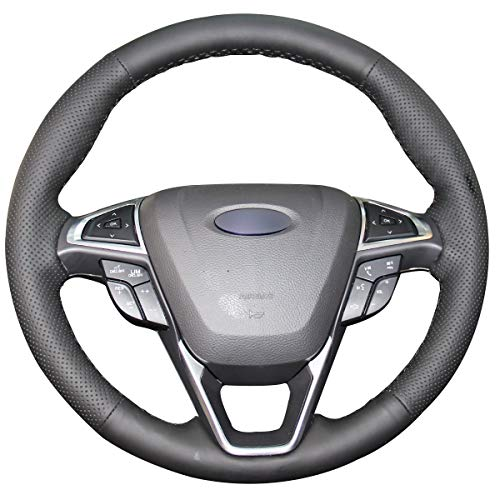 Shining wheat Funda para volante de coche de piel negra para Ford...