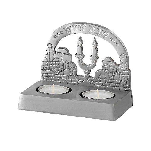 Zion Judaica Shabbat Twin Tea Light Candle Holder - Jerusalem