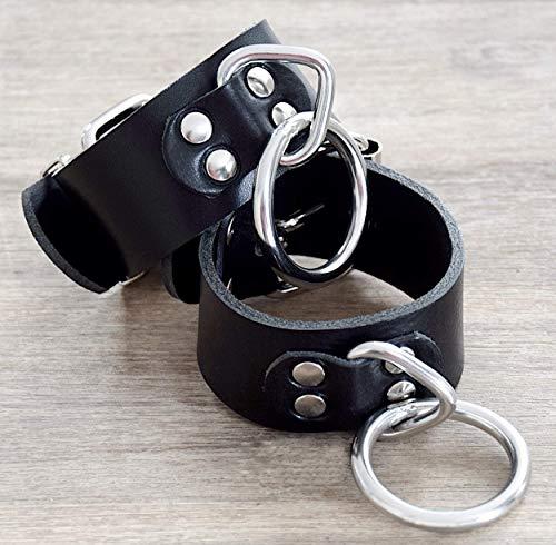 Robuste Bondage Handfesseln Fesseln Fußfesseln mit Rundring und Triangel Breite: 40 mm / Maßanfertigung