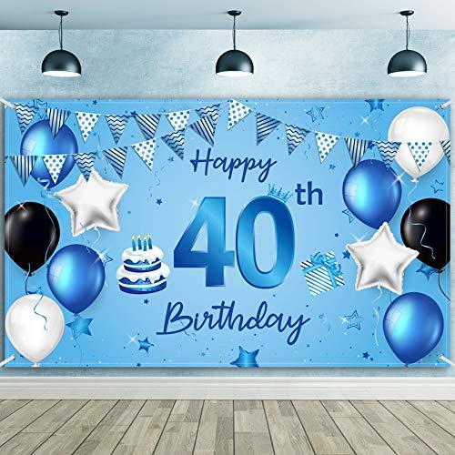 Banner de Fondo Happy 40th Birthday Tela Extra Grande Fondo de Fotografía Cartel de Cumpleaños de Número 40 para Decoraciones de Fiesta de Aniversario de 40 Años, 72,8 x 43,3 Pulgadas