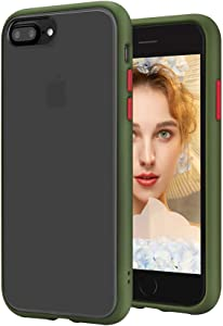 SENMON iPhone 8 Plus Case/iPhone 7 Plus/6/6s Plus case Matte Full Body Protective Shockproof Anti-Drop Independent Button Translucent Anti-Fingerprint Anti-Slip Scratch Resistant (Army Green)