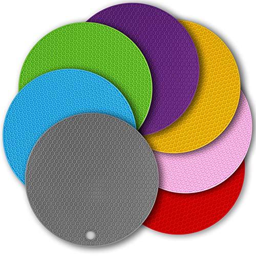Cozihom - Salvamanteles de silicona de 7 pulgadas, almohadilla de silicona celular multifunción, almohadillas calientes antideslizantes, 7 paquetes