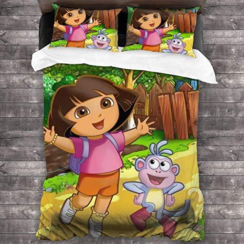 Knncch Dora The Explorer Tagesdecke Bettdecke Set Tröster 3-teiliges Bettwäscheset Quilt Set Bettwäsche Bettbezug Set Kissenbezug