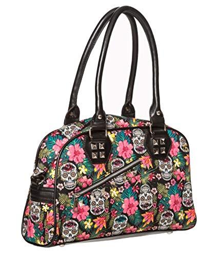 Banned Damen Handtasche Hibiskus Sugar Skull Gr. One size, Schwarz