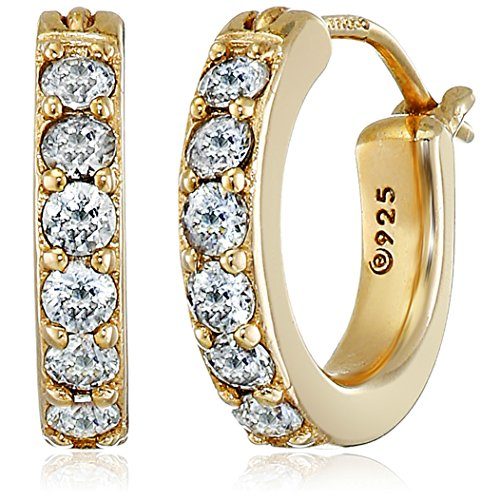 La Lumiere Yellow Gold Plated Sterling Silver Made with Cubic Zirconia from Swarovski 1/5.08cm Round Hoop Earrings