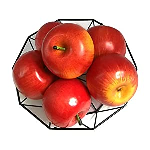 J-Rijzen 6pcs Artificial Apples Fake Apples Artificial Fruits Vivid Apples for Home Fruit Shop Supermarket Desk Office Restaurant Decorations Or Props (Red)