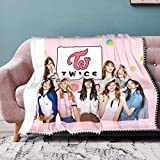 Twice Kpop Cute Throw Blanket for Travel Bedroom Couch Fuzzy Microfiber Pompom Fringe Blanket- for All Seasons