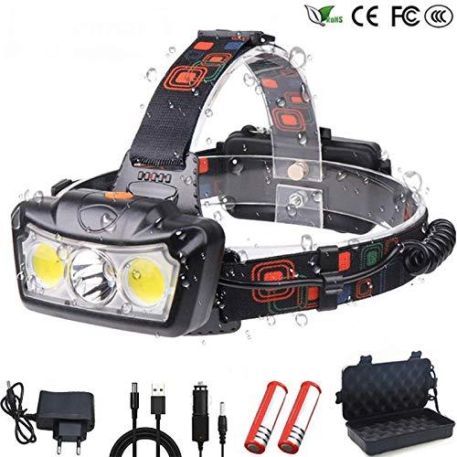 Puissant Projecteur LED T6 + COB LED Lampe Frontale Lampe Frontale Lampe Torche Lanterna Utilisation Phare 2 * 18650 Batterie pour Le Camping