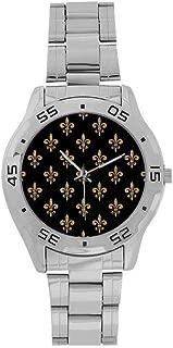 InterestPrint Tree of Life Fleur De Lis Men's Stainless Steel Casual Watch Silver Luxury Fashion Wrist Watches