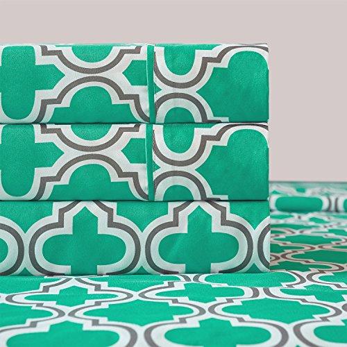 Superior Juego de sábanas de Microfibra, Verde Azulado, California King