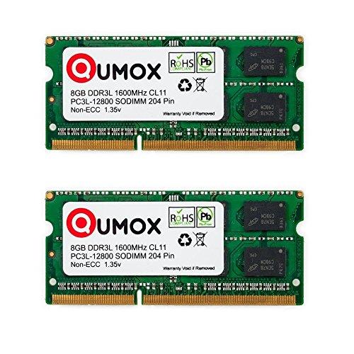QUMOX Memoria SODIMM 16GB(2 x 8GB) DDR3L-1600 204 Pines (1600Mhz, PC3L-12800S, CL11, 1.35V, Low Voltage) para ordenador portátil