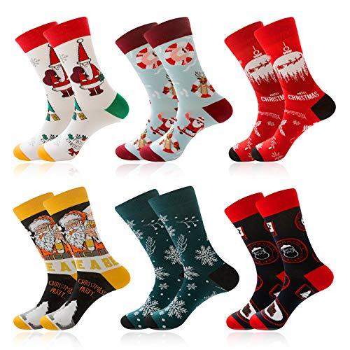 Makone 6 Pairs Christmas Socks Unisex Xmas Warm Soft Cotton Cute Christmas Socks Set for Holiday Printed Socks Winter Colorful Fun Cozy Cotton Knit Socks for Gift