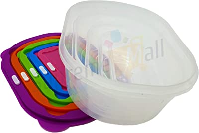 Supreme Plastic Round Storage Box Container Organizer with Lid for Fridge Container - Plastic Bowl Package Container Set of 5 (Square)
