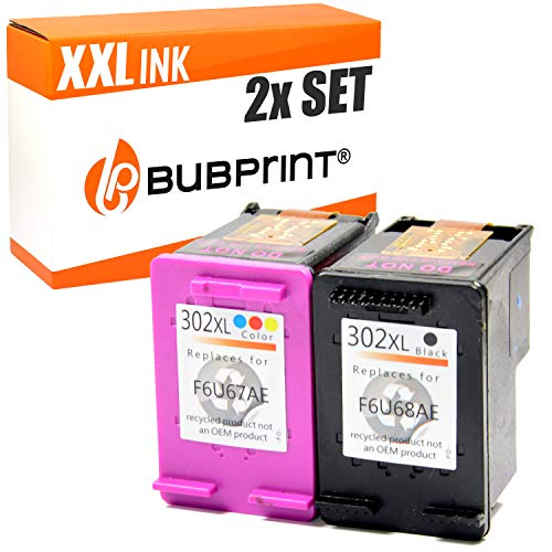 2x Bubprint Tintenpatrone kompatibel für HP 302 302XL DeskJet 3636 2130 3630 1110 Envy 4525 4520 OfficeJet 3831 3830 4655 Multifunktionsdrucker