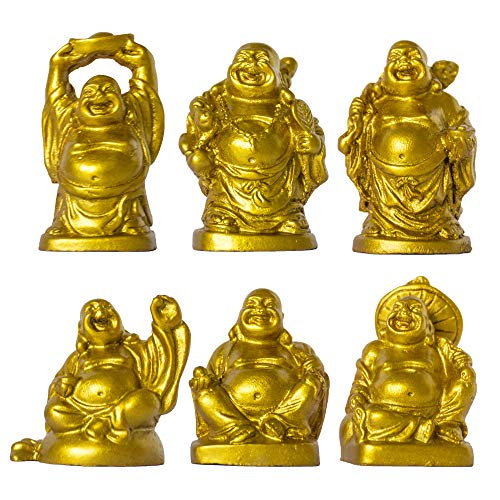 ADDUNE Set of 6 Laughing Happy Buddha Statue Resin Figurines Feng Shui for Luck Wealth Good Gift and Collection (Gold, 2'')