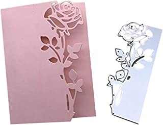 DIY Cutting Rose Flower Dies,Exquisite Gift for Making Paper Card,Metal Thanks Die Cut Stencil Template for DIY Scrapbook Photo Album Embossing Craft School House Home Wedding Decor (Silver)